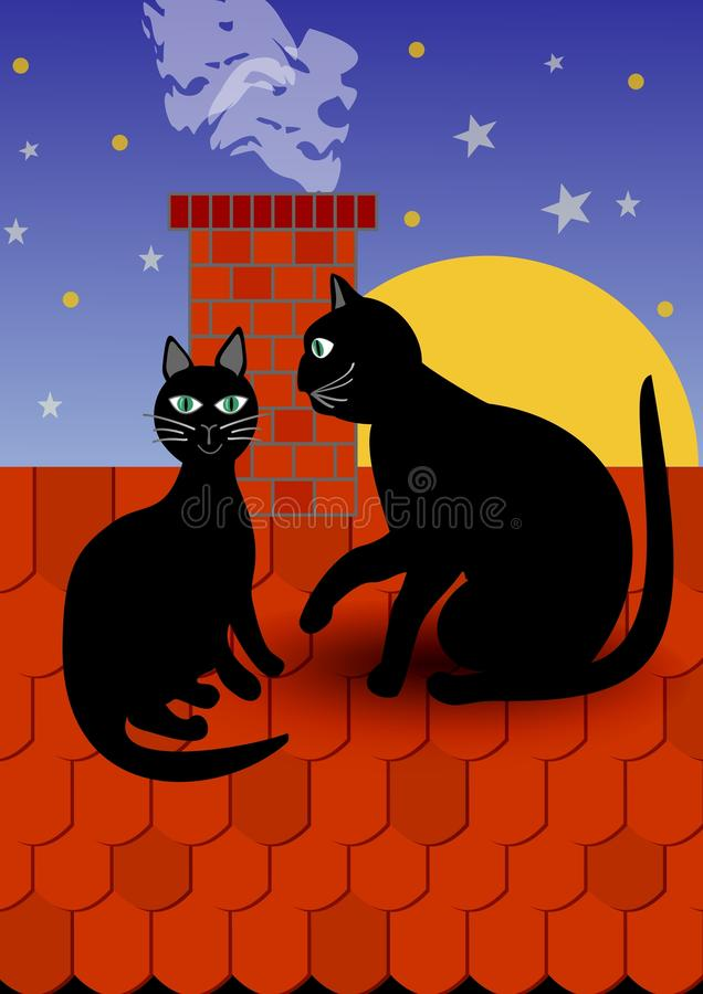 Black cat with tomcat by chimney on red roof, dark evening sky with stars on background. Vector illustration for fancier and suppo royalty free illustration