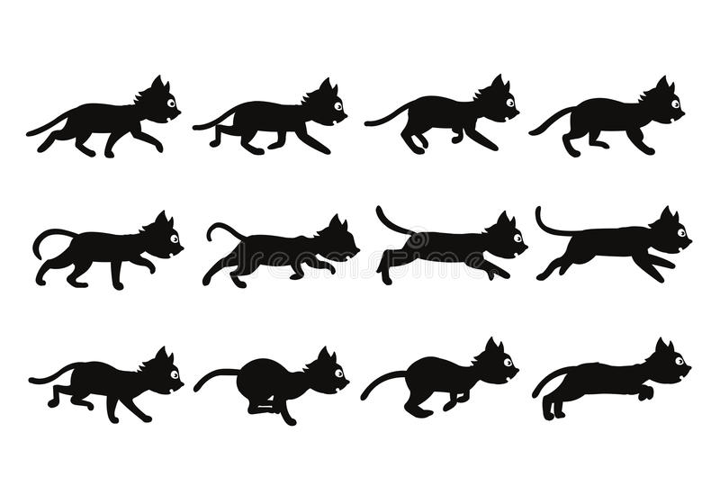 Black Cat Transition From Walking To Running Sprite Stock