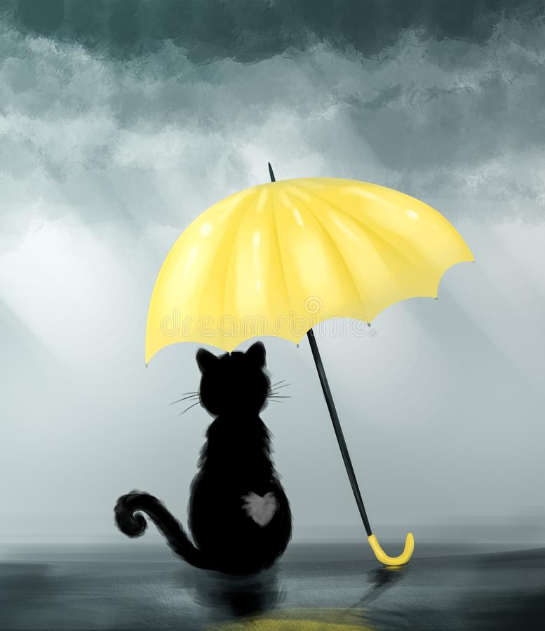 Black cat under yellow umbrella. Cute cartoon illustration. Autumn background