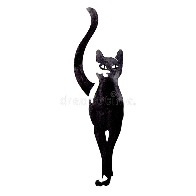 Black cat. Watercolor painting on white background vector illustration