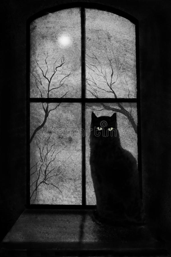 Black cat in the window. Black cat on a window in the castle vector illustration