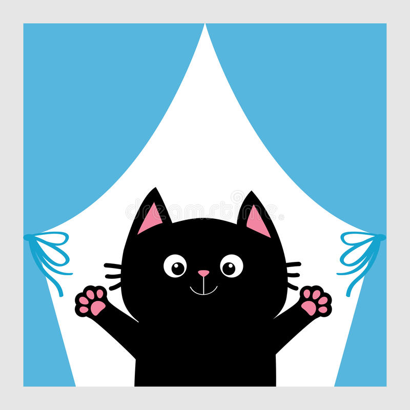 Black cat in the window. Curtain with bow. Open hand paw print. Kitty reaching for a hug. Funny Kawaii animal. Baby card. Cute car. Toon character. Pet stock illustration