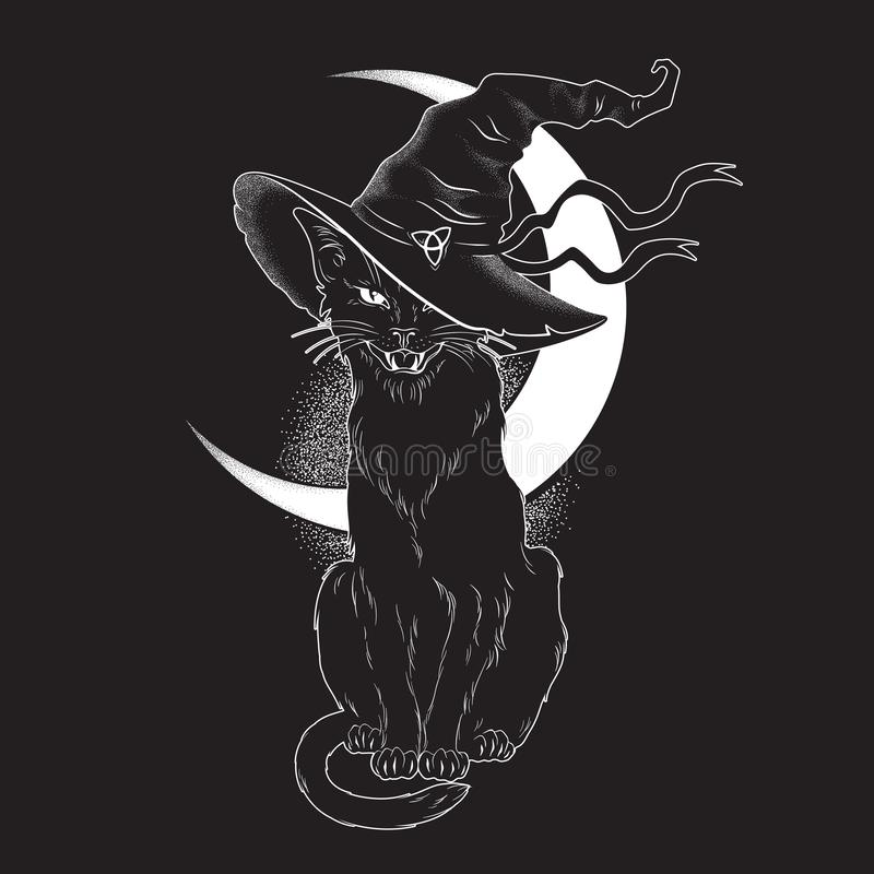 Free Black Cat With Pointy Witch Hat Line Art And Dot Work. Wiccan Familiar Spirit, Halloween Or Pagan Witchcraft Theme Tapestry Print Royalty Free Stock Photos - 137806708