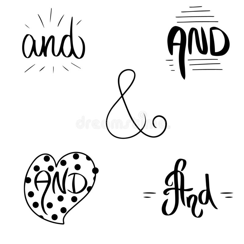 Black Catch word And. Ampersand vector illustration hand drawn brush style in heart border and frames. Modern calligraphy element vector illustration