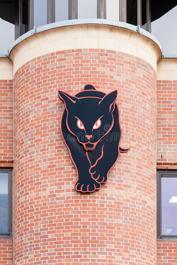 The Black Cats. A black cat adorns a building adjoining the home of Sunderland Football Club in Sunderland, England. The Black Cats is Sunderland's nickname stock photography