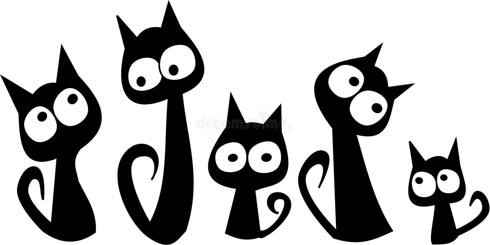 Black cats. Five cats sit together They look at each other royalty free illustration
