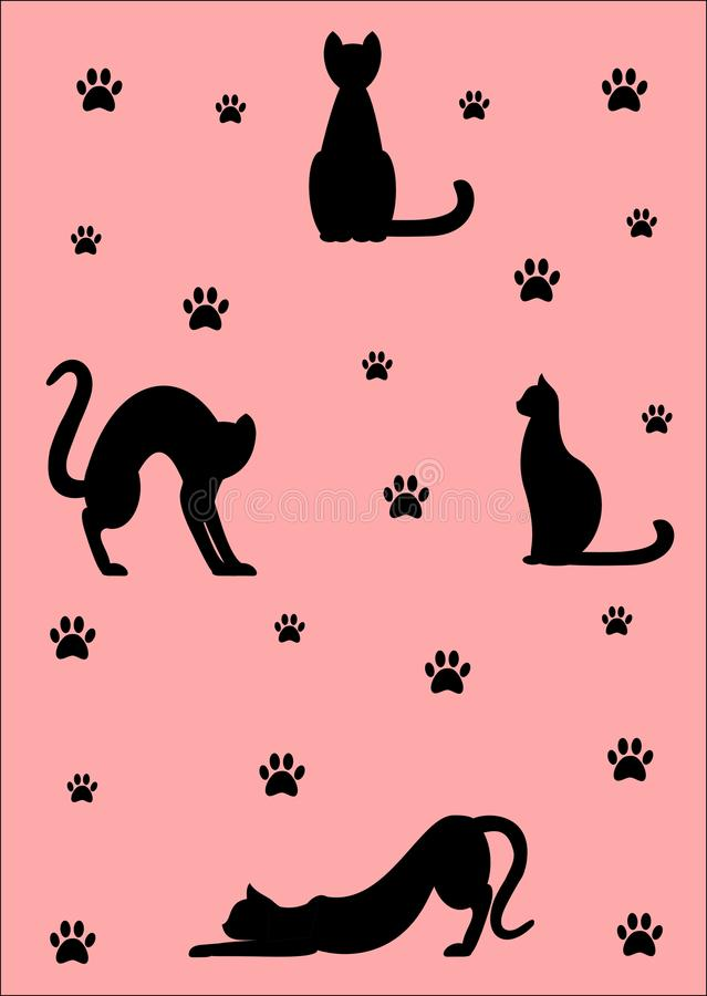 Black cats on pink background royalty free stock images