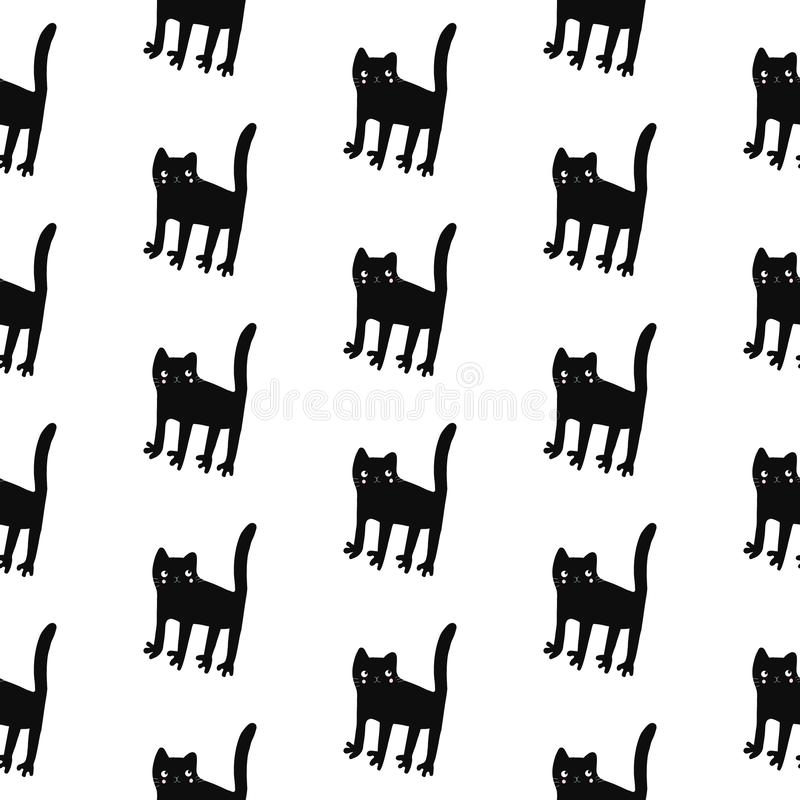 Black cats seamless pattern hand drawn on white font vector illustration