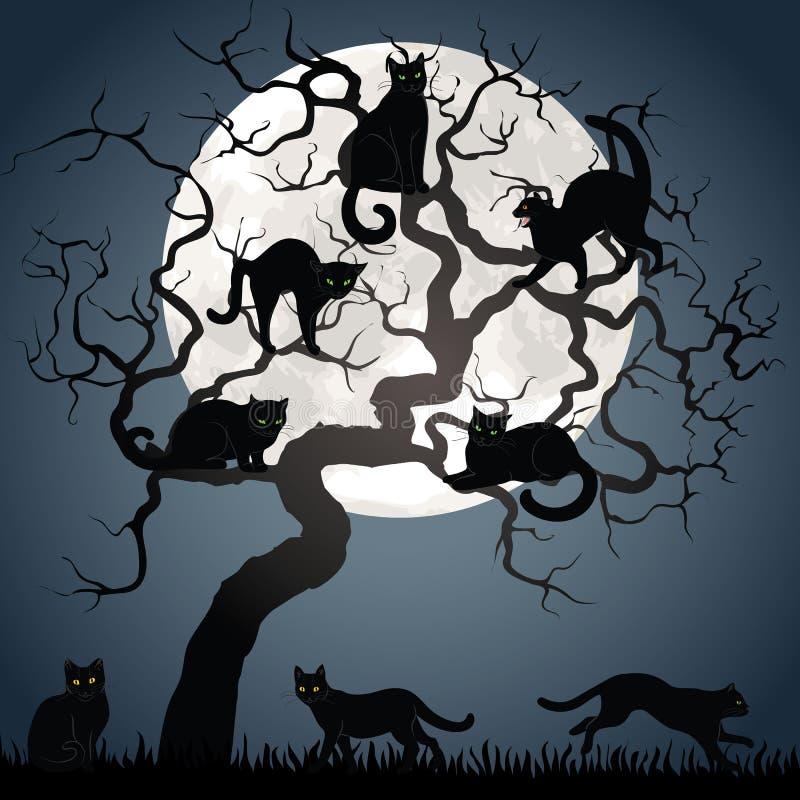 Black cats on tree stock illustration