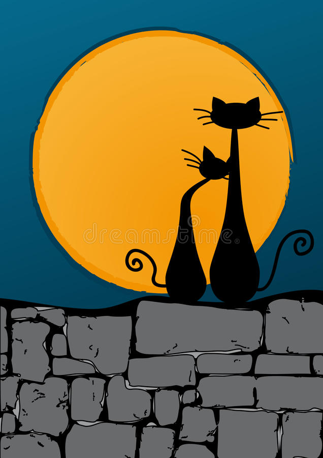 Black cats on the wall stock image