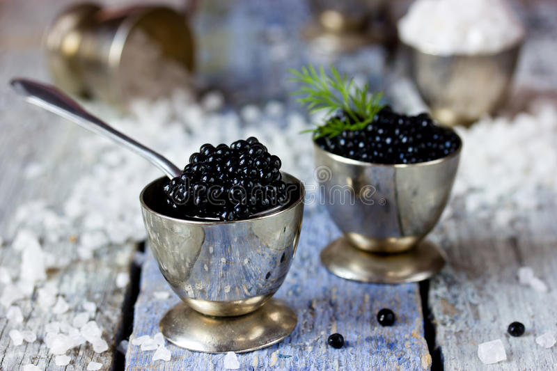 Black caviar, luxurious delicacy appetizer. Selective focus royalty free stock photos