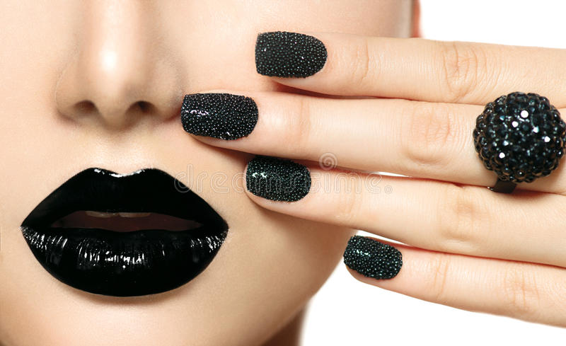 Black Caviar Manicure. And Black Lips. Fashion Makeup