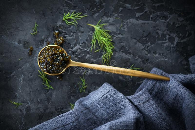 Black Caviar in a spoon on dark background. High quality real natural sturgeon black caviar close-up. Delicatessen. Texture of expensive luxury caviar. Food royalty free stock images