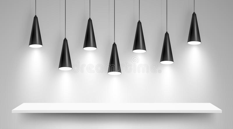 Black ceiling lamps. Vector stock illustration