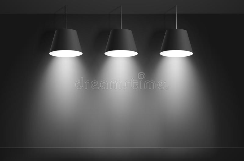Black ceiling lamps. Vector vector illustration