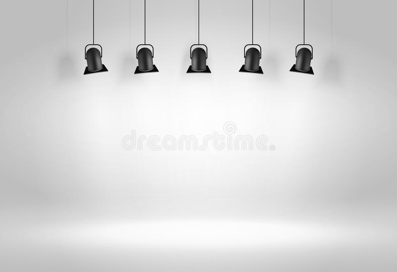 Black ceiling lamps. Vector royalty free illustration