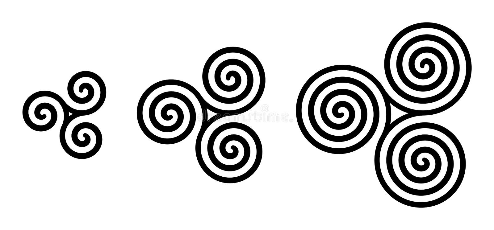 Black Celtic triskelion spirals over white. Triple spirals with two, three and four turns. Motifs of three twisted and connected spirals, exhibiting rotational stock illustration