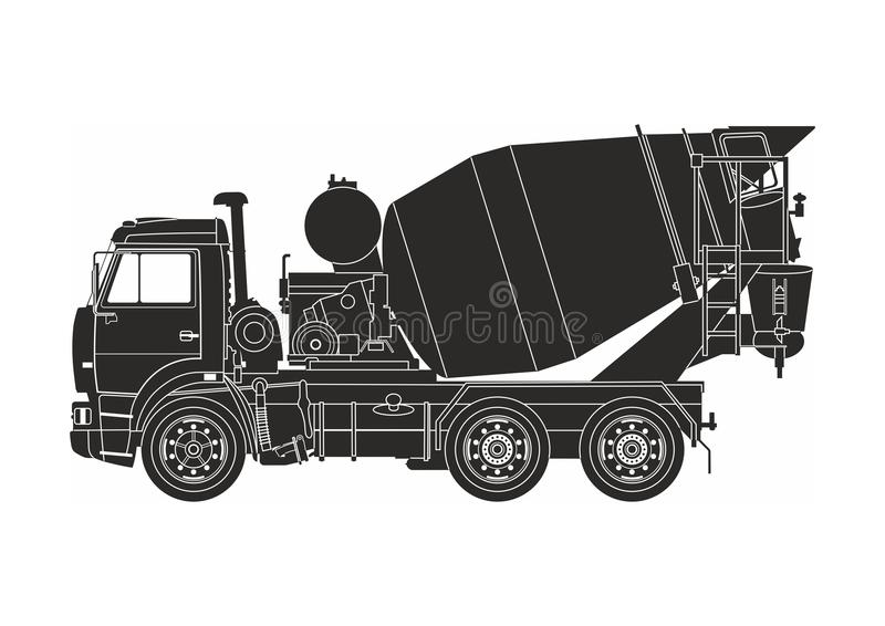 Black cement truck. On the white background royalty free illustration