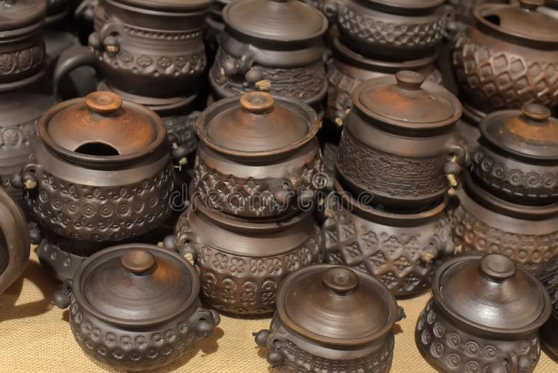 Black ceramics - one of the types of ceramics, burned by a special technology - in a wood-burning stove. Without oxygen royalty free stock photos