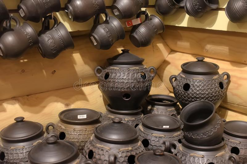 Black ceramics - one of the types of ceramics, burned by a special technology - in a wood-burning stove. Without oxygen stock photo