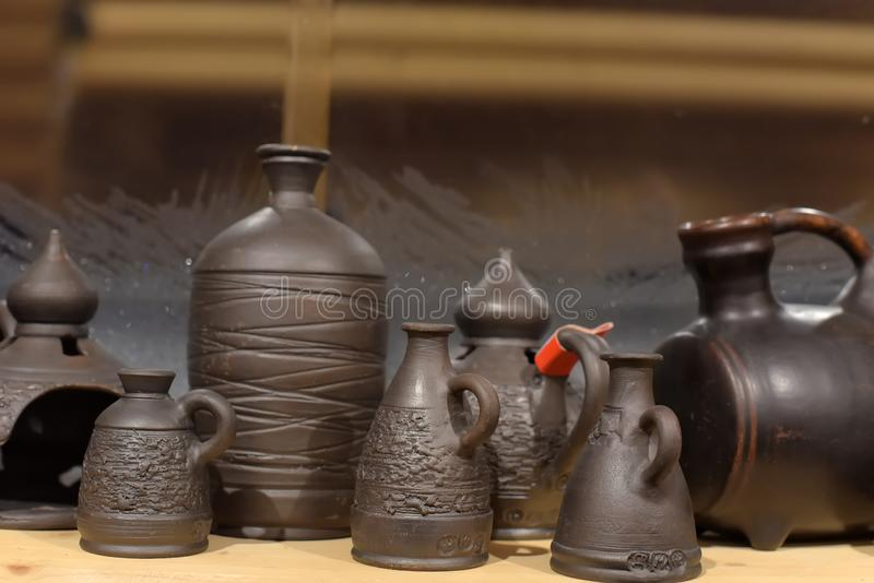 Black ceramics - one of the types of ceramics, burned by a special technology - in a wood-burning stove. Without oxygen royalty free stock photography