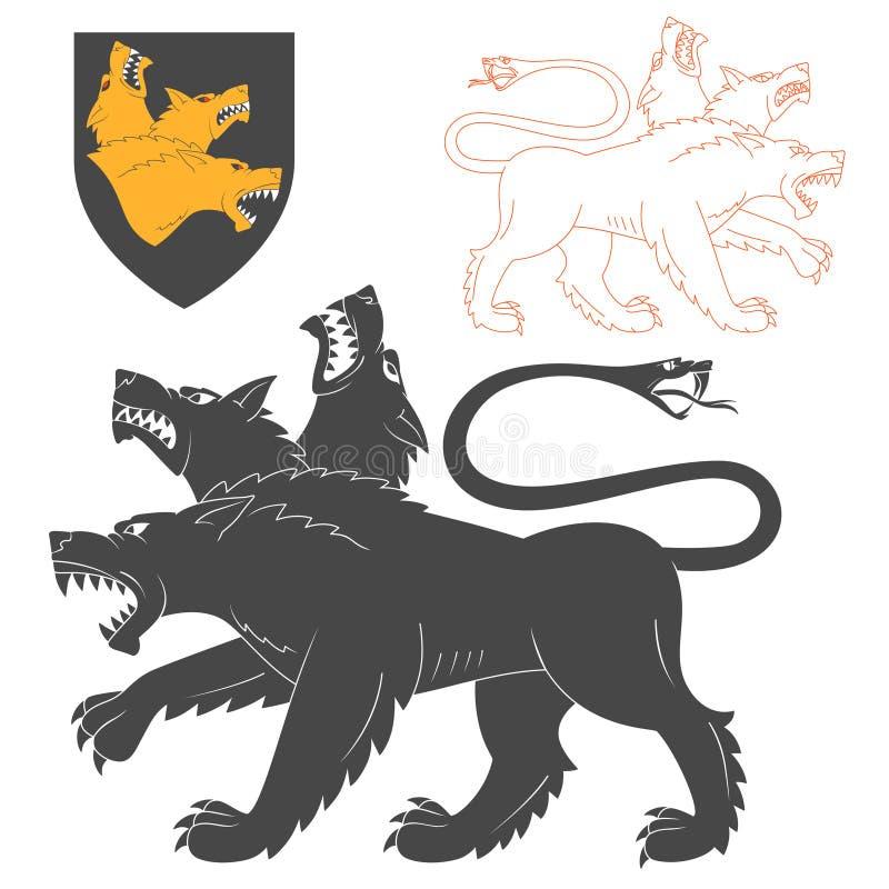 black cerberus illustration stock vector illustration of mongrel religion 75092046. Black Bedroom Furniture Sets. Home Design Ideas