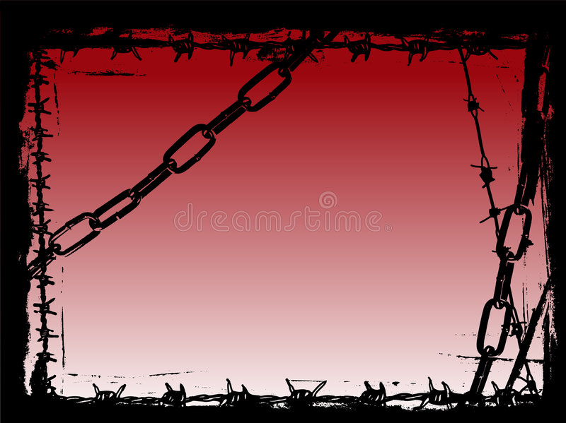 Black Chains and Barbed Wire Vector Grunge Border stock illustration