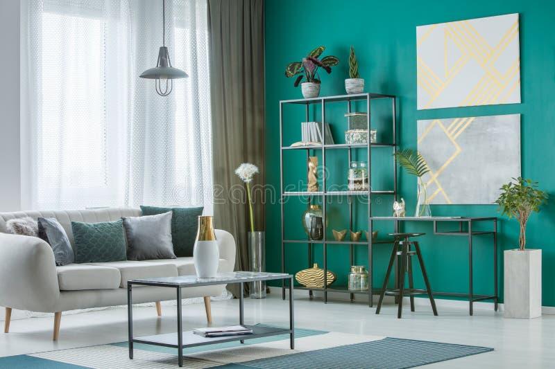 Green living room interior royalty free stock photos