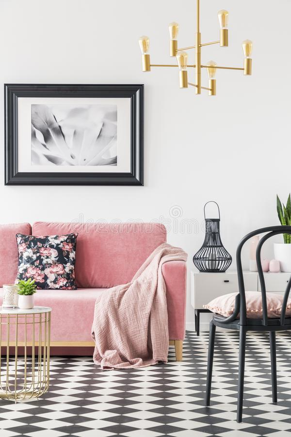 Black chair near pink couch in modern living room interior with poster and gold lamp. Real photo. Concept stock photo