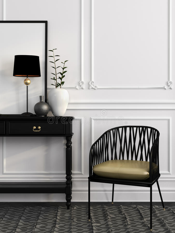 Black chair and table against a white wall vector illustration