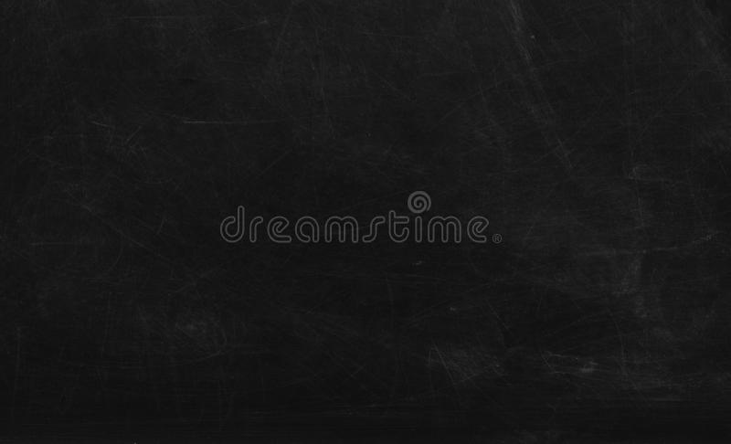 Black chalk board texture background.  Chalkboard, blackboard, school board  surface with scratches and chalk traces stock images