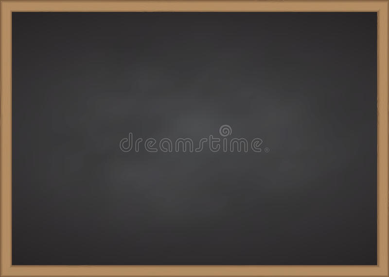 Black chalk board with wood frame. Vector illustration stock images