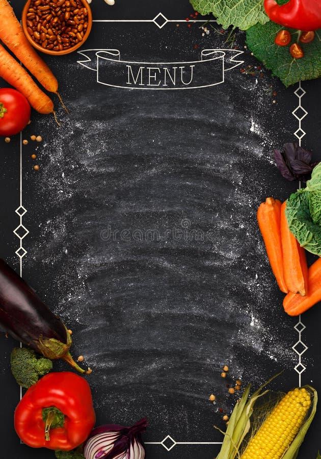 Download Black Chalkboard As Mockup For Restaurant Menu Stock Image