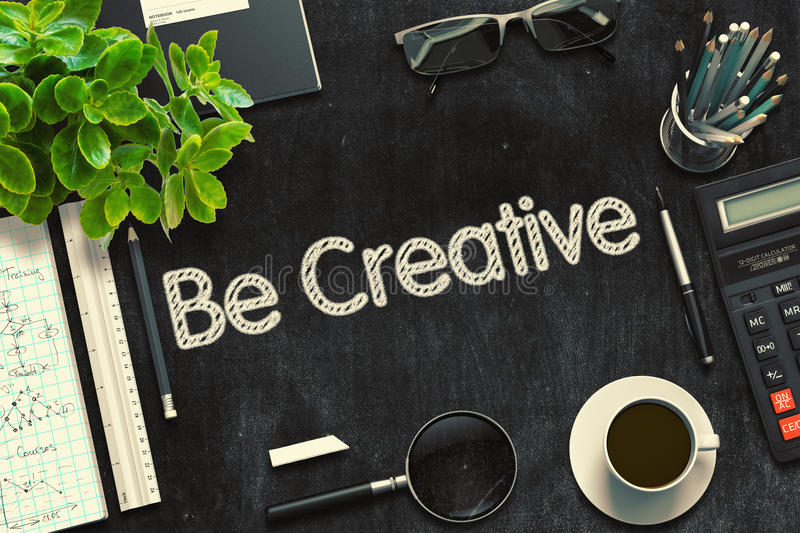 Black Chalkboard with Be Creative Concept. 3D Rendering. royalty free stock photos