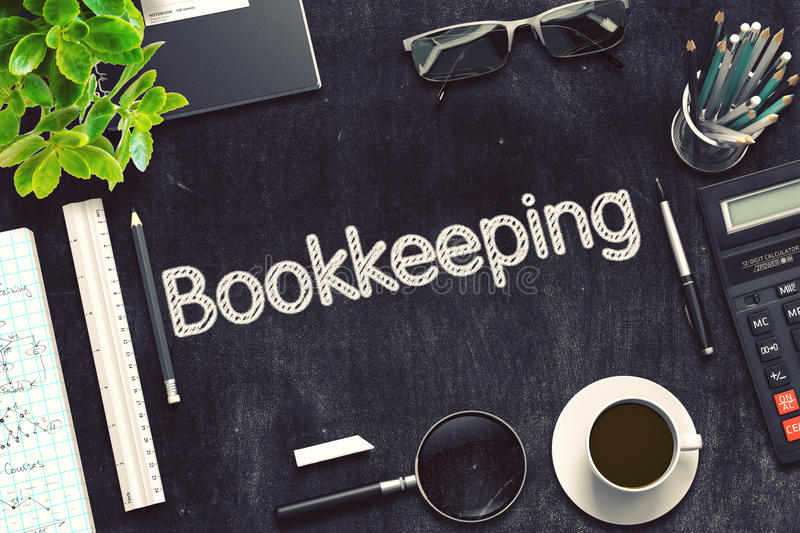 Black Chalkboard with Bookkeeping. 3D Rendering. stock photo