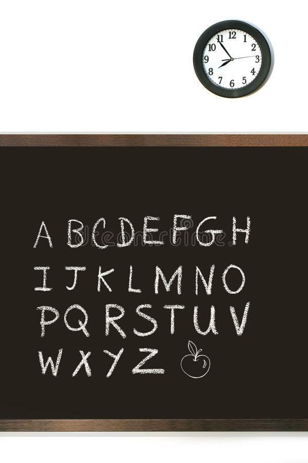 Download Black Chalkboard With Clock Stock Image - Image: 6041055
