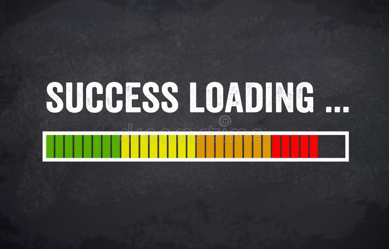 Chalkboard with loading bar and success loading royalty free illustration