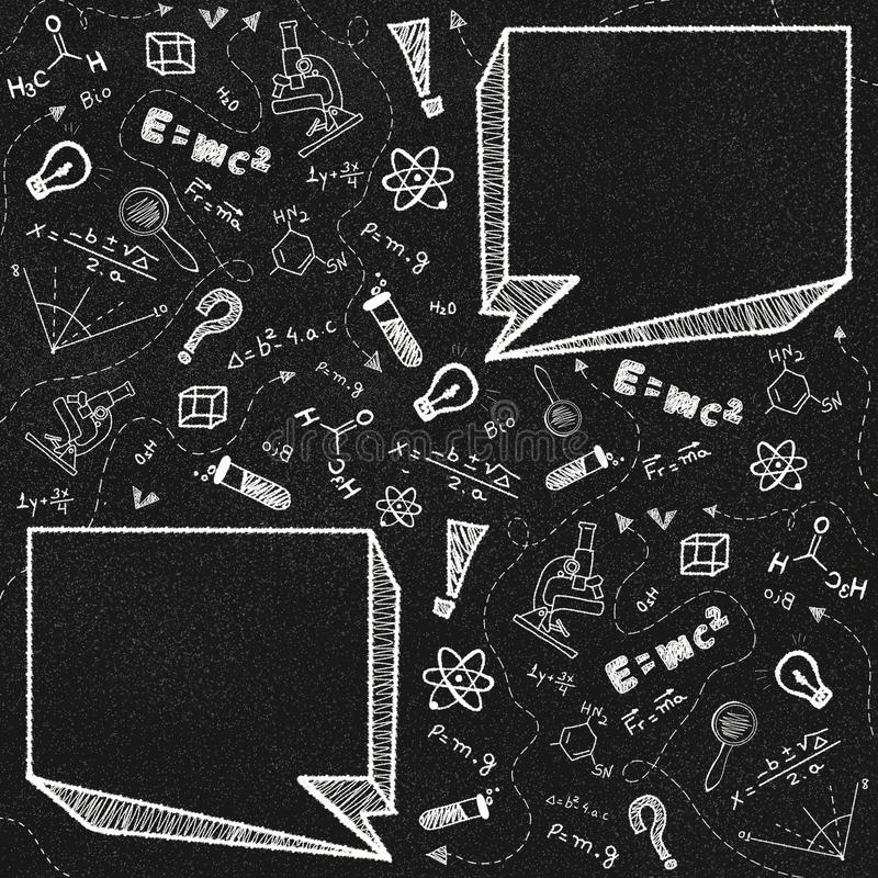 Black chalkboard and school theme doodles with two empty speech bubbles royalty free stock images