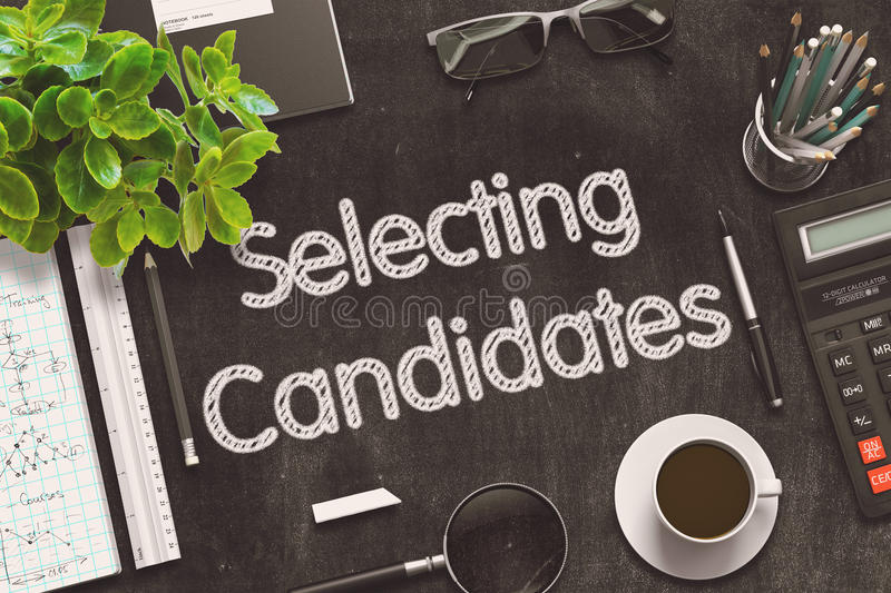 Black Chalkboard with Selecting Candidates. 3D Rendering. stock illustration