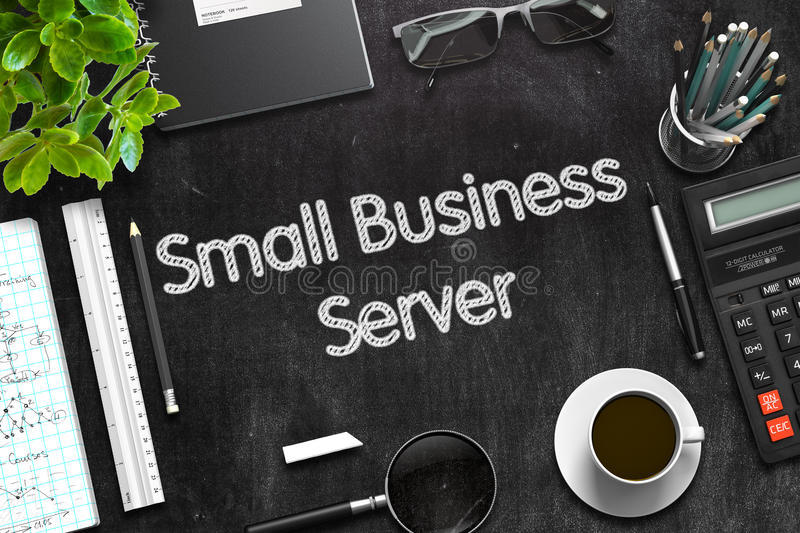 Black Chalkboard with Small Business Server. 3D Rendering. royalty free stock image