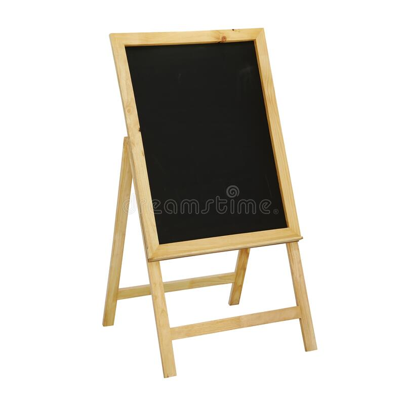Black Chalkboard Stand, Sandwich, Sidewalk Sign Isolated on White Background stock images