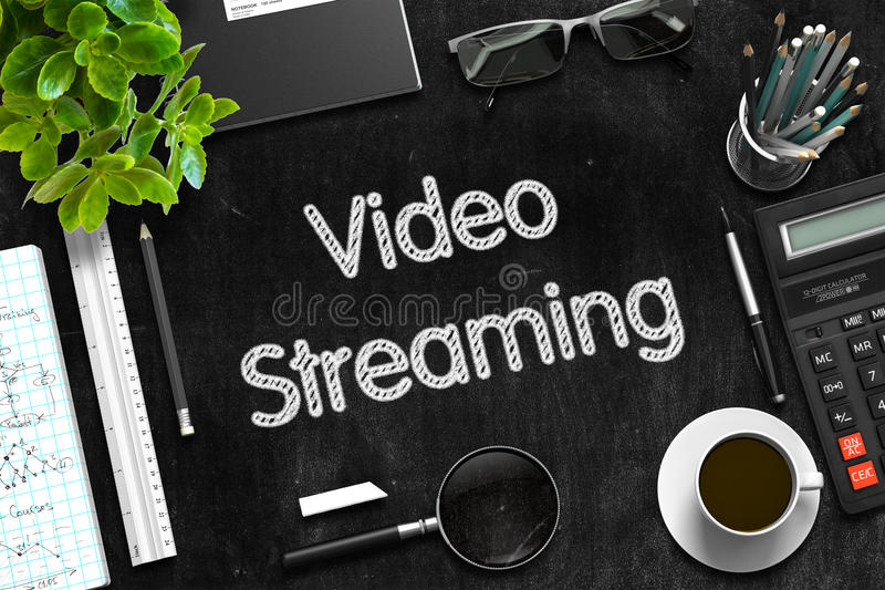 Black Chalkboard with Video Streaming Concept. 3D Rendering. stock images