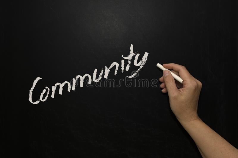School board with the word Community on it. Black chalkboard with the word Community written with white chalk royalty free stock photos