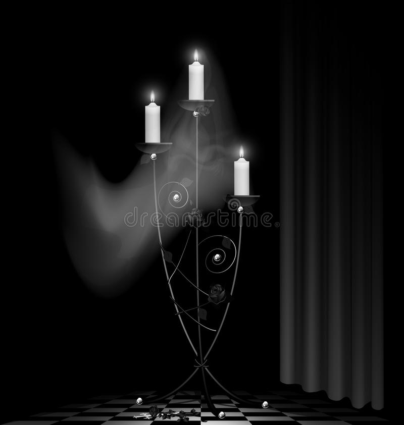 Download Black chandelier and ghost stock vector. Illustration of apartment - 24884278