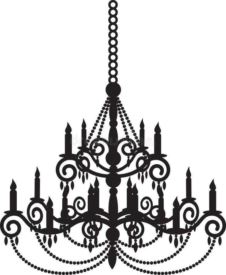Black chandelier. Black silhouette of luxury chandelier vector illustration