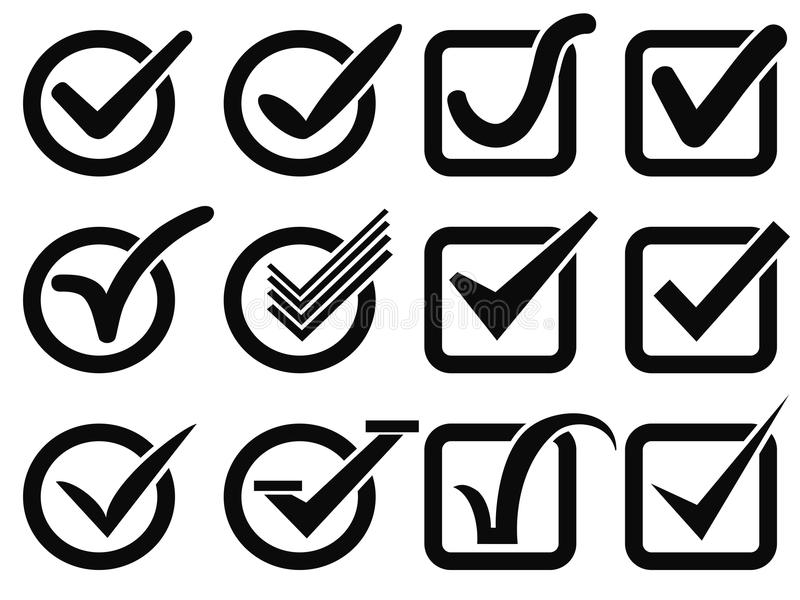 Black check mark button icons royalty free illustration