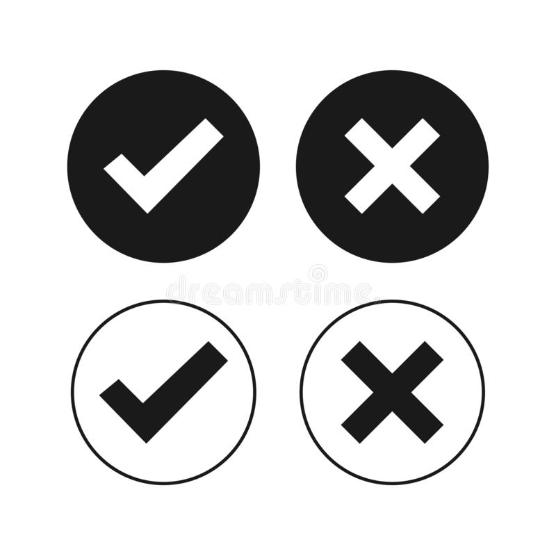 Black check mark filled and outlined icons. Do and Dont check tick mark and cross icons isolated on white background. Vector vector illustration