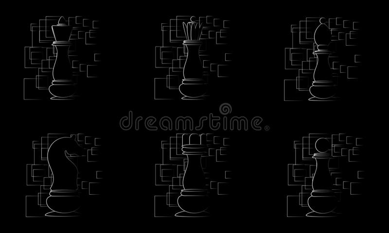 Black chess pieces on black abstract background. Vector. Illustration vector illustration
