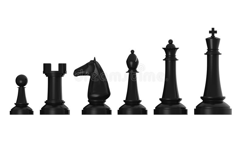 Black Chess Pieces. Isolated on white background. 3D render vector illustration