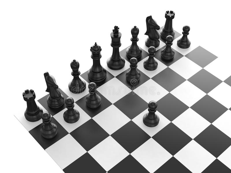Black Chess Set stock illustration